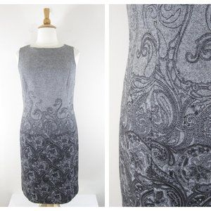 Talbots Plus Size Gray Black Paisley Sheath Dress